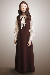 Dress Long Brown with White with Spots Sleeve 1970s