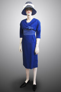 Dress and Bolero Jacket Blue with Polkadot Detail. 1950s/60s