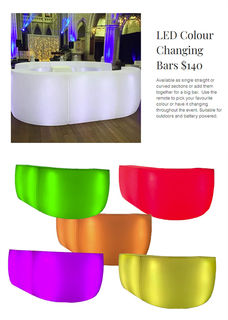 Bar LED Colour Changing Bar Section. (1200mm x 400mm x 1070mmH)