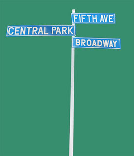 Four-way New York Street Sign. 2.3m