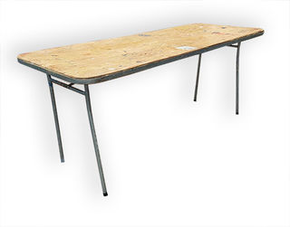 Wooden Trestle Table, Metal Frame (1.74m x 0.75m)