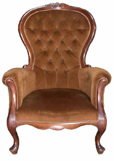 Armchair #19 Victorian Buttoned Brown Velvet (matches sofa)100h x 75 x 75cm.
