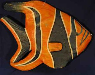 Fish Giant Paper Mache Orange (H57cm x W67cm x D10cm) [x= 2]