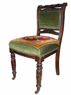 Dining Chair #031 Green Tapestry Victorian [x= 4]