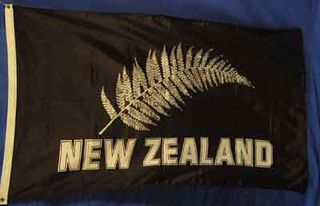 New Zealand Silver Fern On Black (1.5m x 0.9m) [mat=polyester]