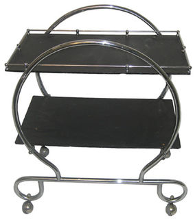 Art Deco Trolley #053 Black & Chrome (H87cm W74cm D48cm)