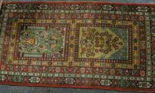 Persian Prayer Rug  Gold/Red/Green Design (0.8m x 1.6 m)