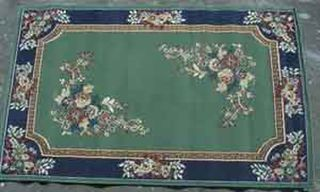 Rug Floral Border Green/Blue/Pink Design (1.2 m x 1.6 m)