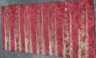 Rug Abstract Stripe Red/Cream (0.9m x 1.70m)