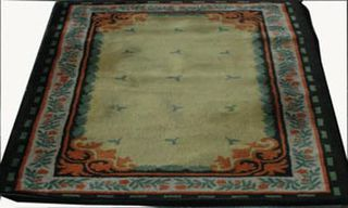 Rug Floral Cream/Orange/Black/Green Design (1.2 x 2.1m)