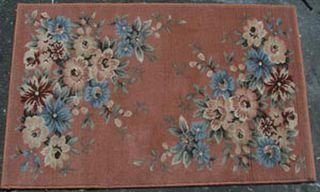 Rug Floral Pink/Blue/Cream Design (0.8m x 1.45m)