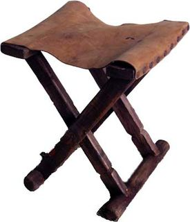 Rustic Stool With Leather Seat (H42cm W37cm D31cm) [x=4]