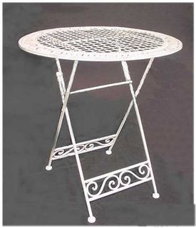 Table White Wrought Iron Folding (total stock=2)