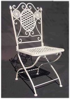 Chair White Wrought Iron Folding (total stock=4)