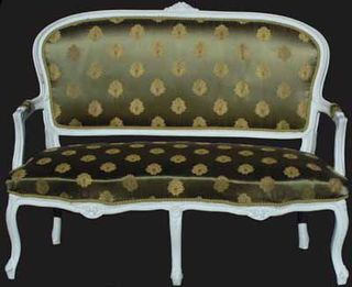 Louis XV1 Sofa #09 Gold Brocade w White Frame [L1.26m x H0.90m][Matches 2 x Armchairs]