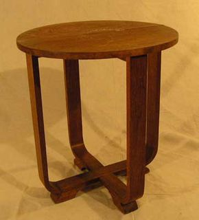 Coffee Table Art Deco #039 Oak (H57cm diameter 50cm)