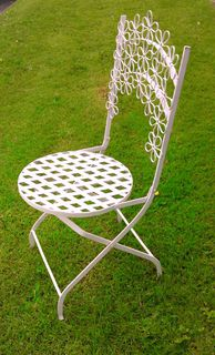 Chair White Wrought Iron  Folding Flower Design