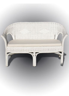 White Cane Sofa Length (130 cm)
