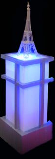 Art Deco Light Plinth (white perspex - lights up w plug can be red/green/ yellow/white) (1 m x 0.45 x 0.5) (Eiffel tower hired separately)