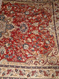 Persian Red/Beige/Blue Design (2.4m x 3.3m) worn condition burn marks
