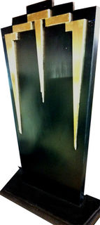 Art Deco Black & Gold Band Stands (1m x 0.6m x 0.3m) 10 in stock.