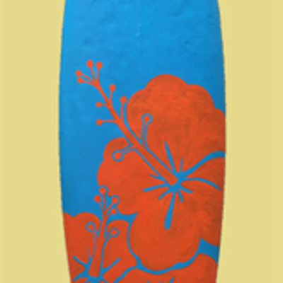 Surfboard Blue with red flower design (1.8m x 0.5m)