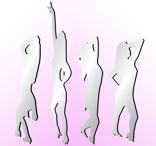 Dancing Mirror Girl Cutouts.  1.80m-2.4m.  (Freestanding)
