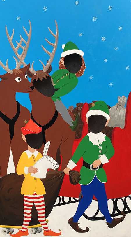 Christmas Flats Stand-In (photo op) Reindeer/Elves (2.15m X 1.22m)