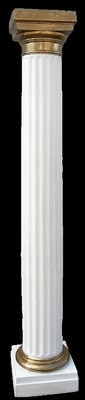 Column (gg) Doric Plastic White w/ gold trim top and bottom.(2.1m)