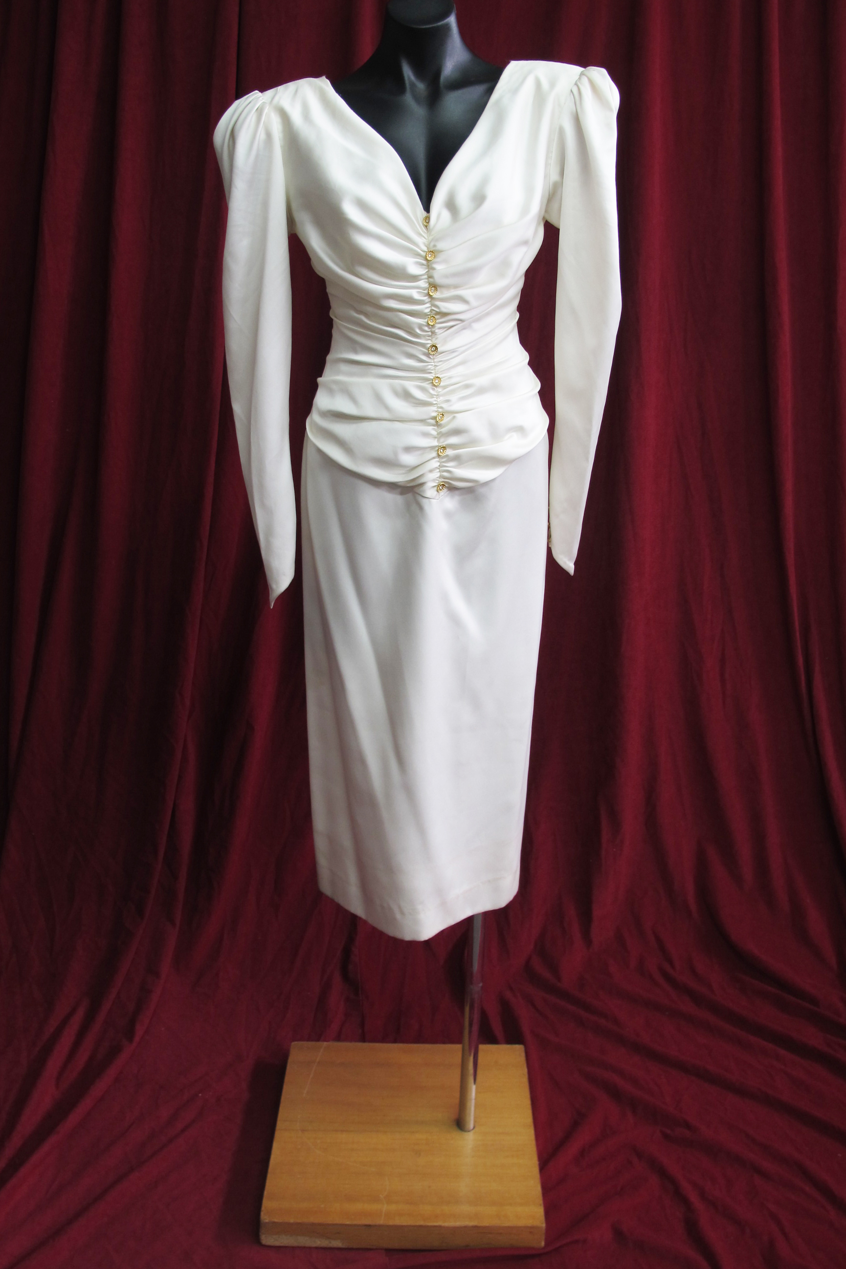 Wedding Suit Ruched Jacket Cream Silk with Shoulder Pads 10