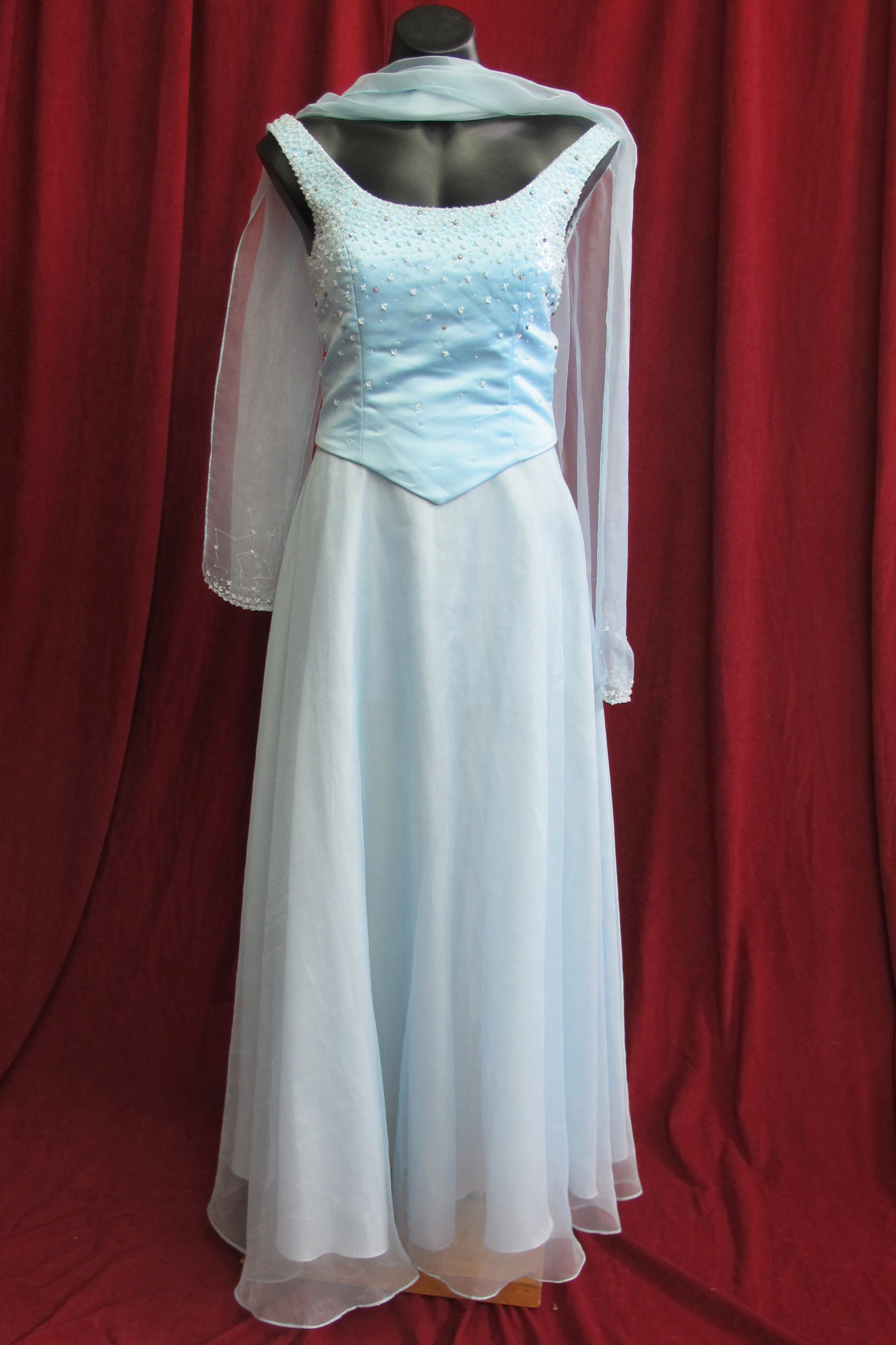 Wedding Dress Pale Blue w Shawl 2pce sz.10