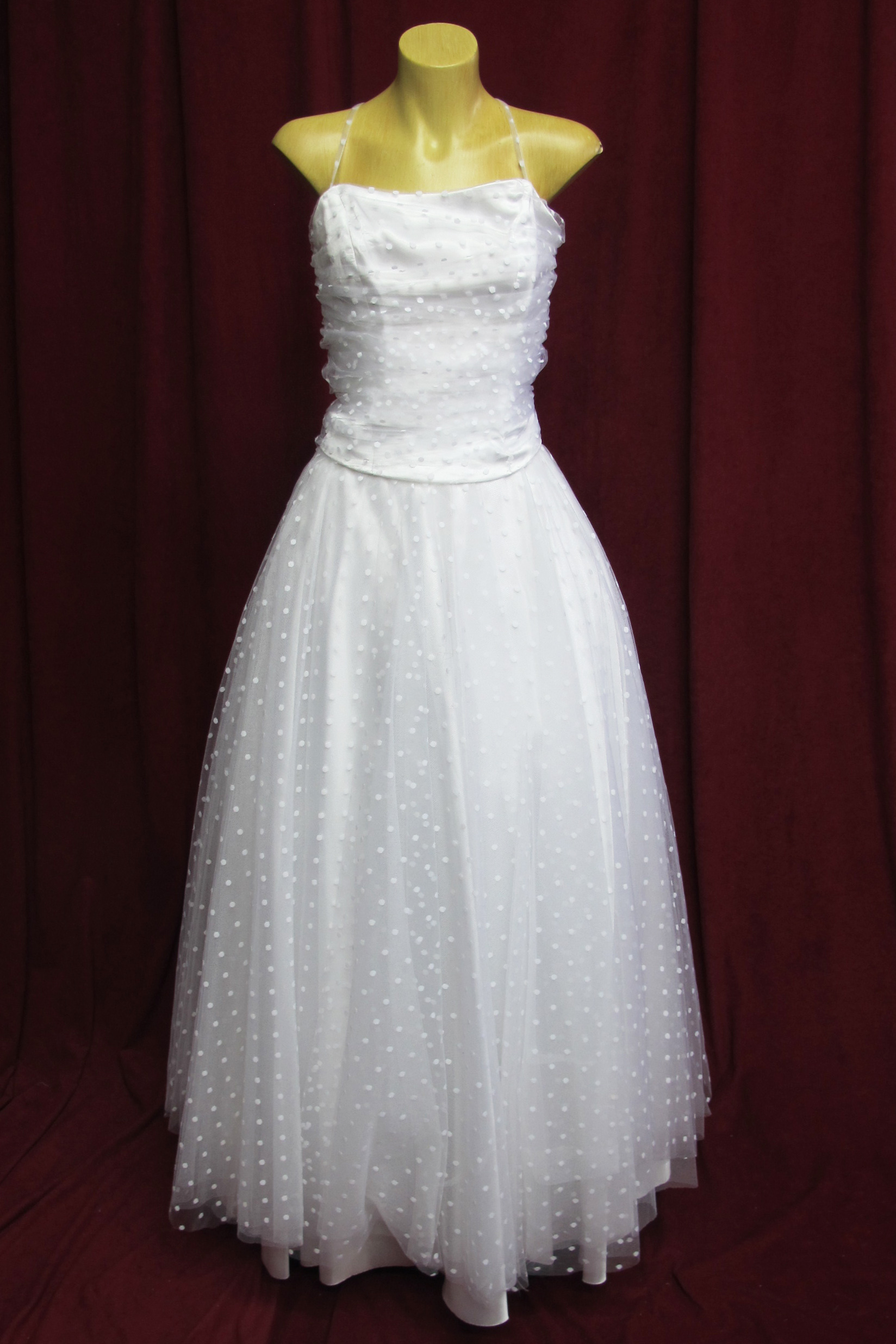 Wedding Dress 2pce White Tulle w Polkadots sz. 10 45320104
