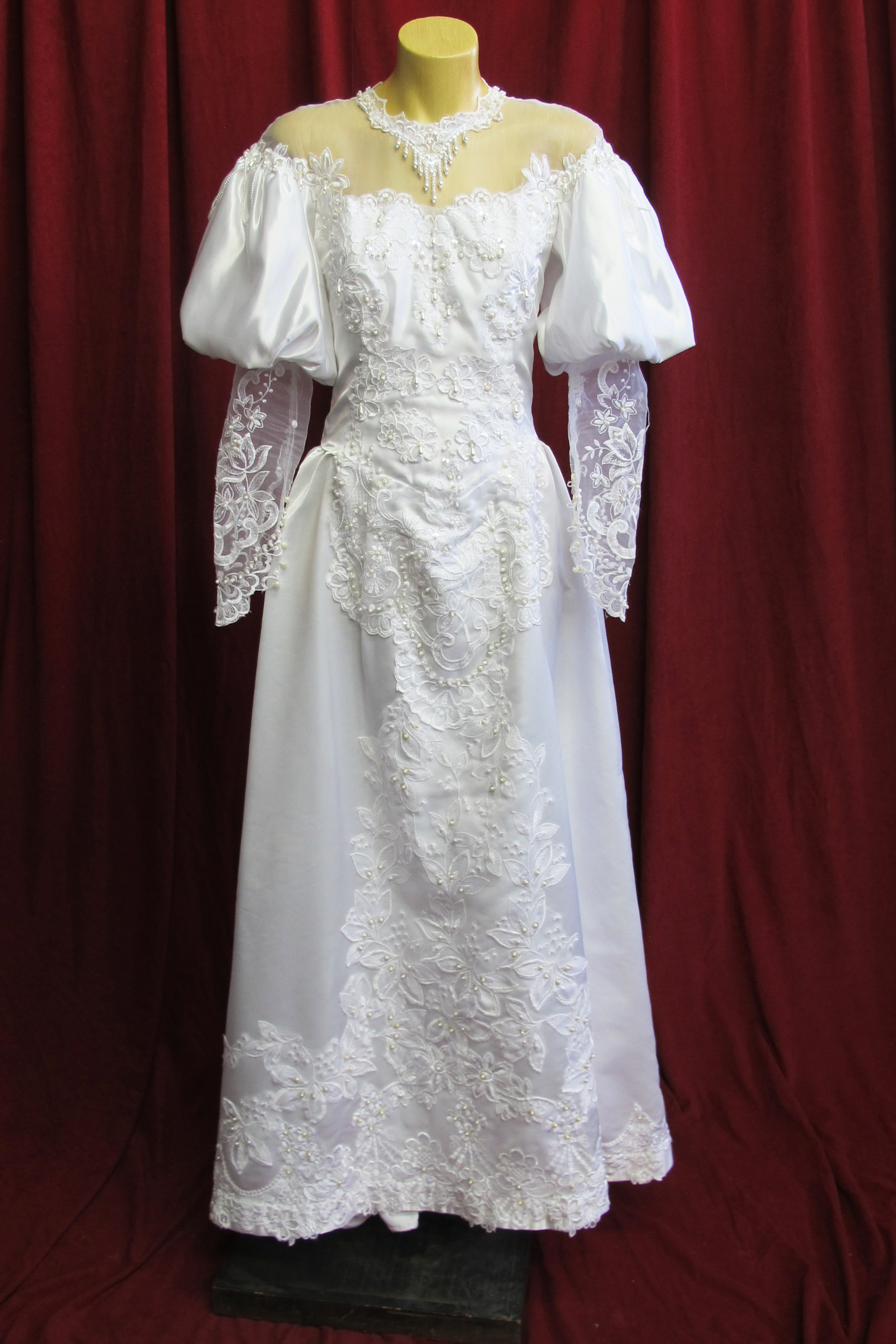 Wedding Dress Victorian Style Mutton Chop Sleeves sz. 8 45320140
