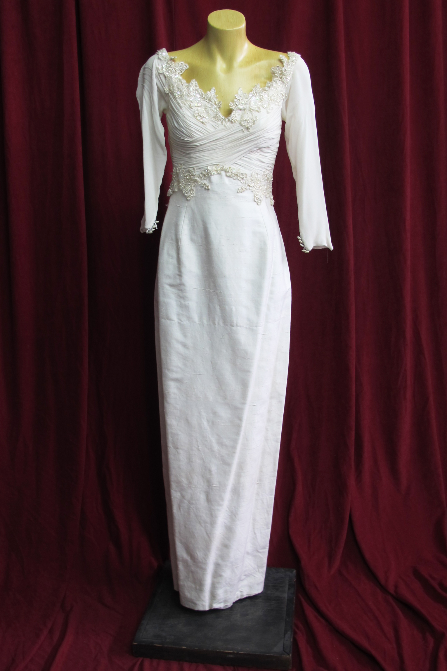 Wedding Dress Silk Rouched Bodice, Long Train sz.8 45320021