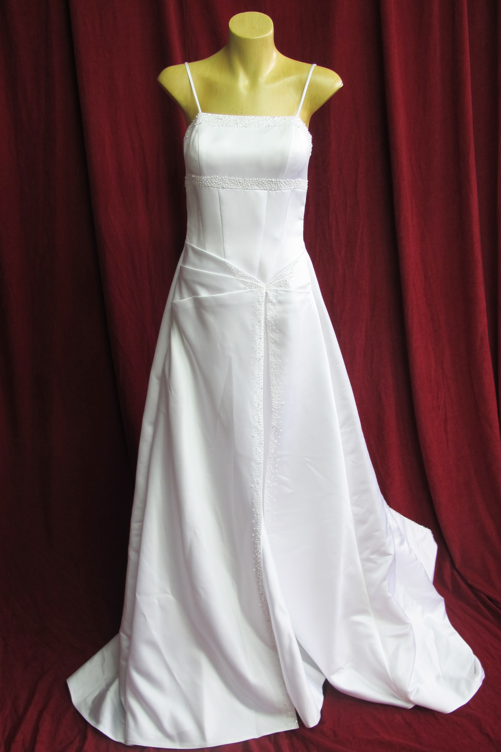 Wedding Dress Spaghetti Straps Folded At Waist sz.8