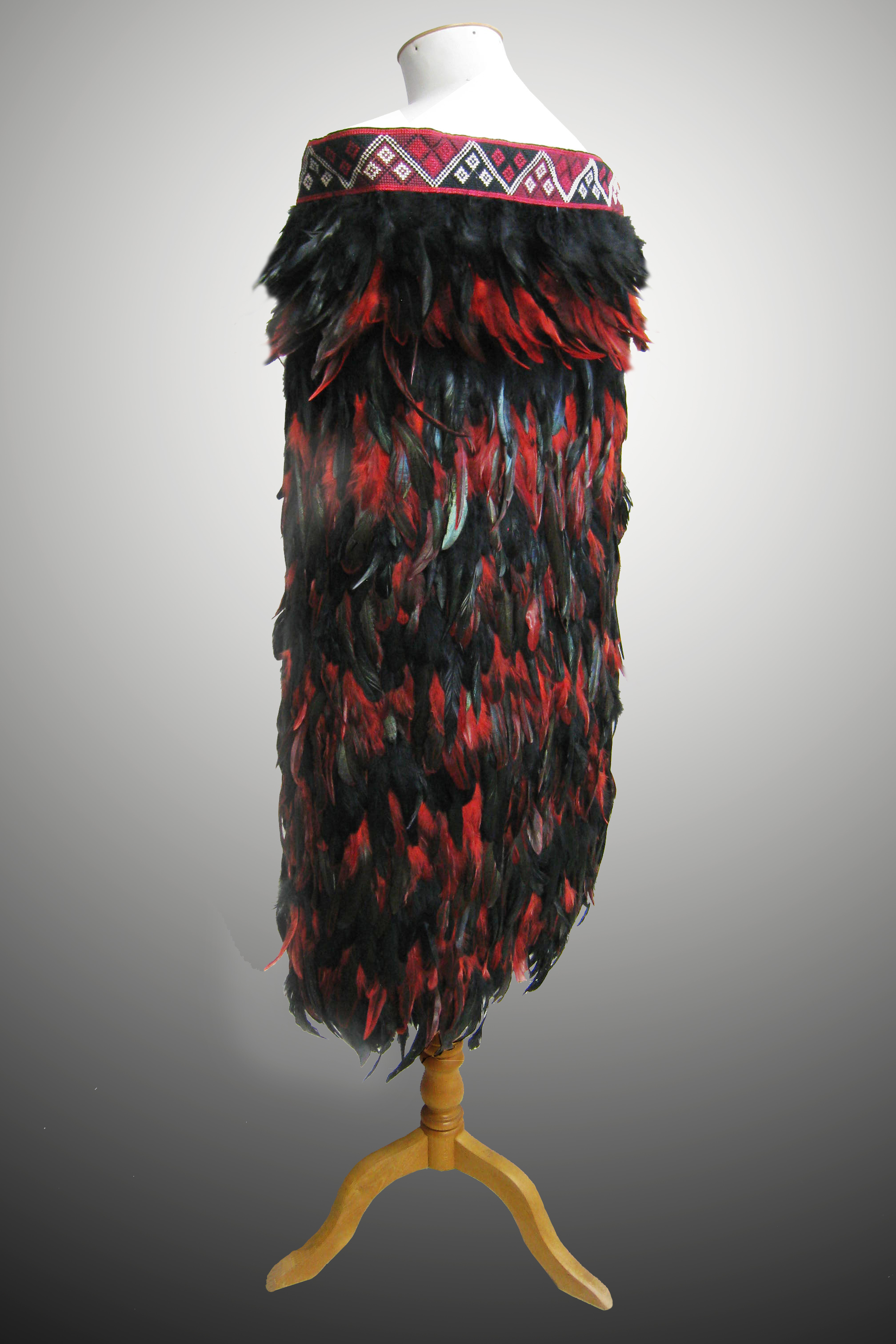 Red/Black Feathered Cloak Back View
