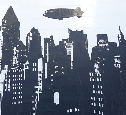 City Backdrop with Airship. Vinyl.  (5 x 3m)