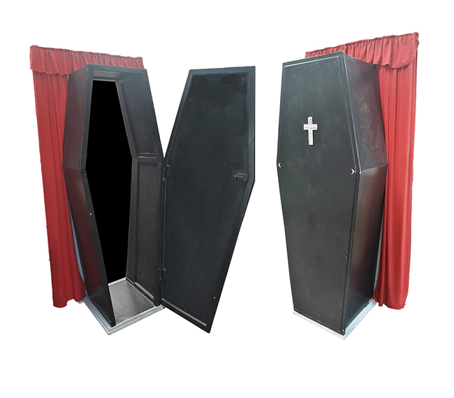 Coffin # 17 Walk-Through, Standing w/ red drape  (2.03m x 0.6m x 0.38m) .