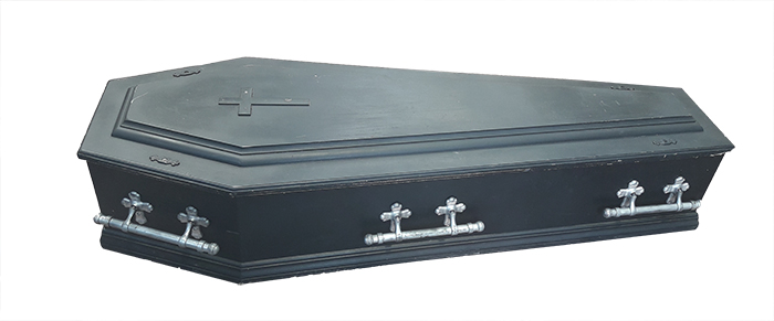 Coffin #16 Black Jesus & Cross (1.74m x 0.64m x 0.34m)