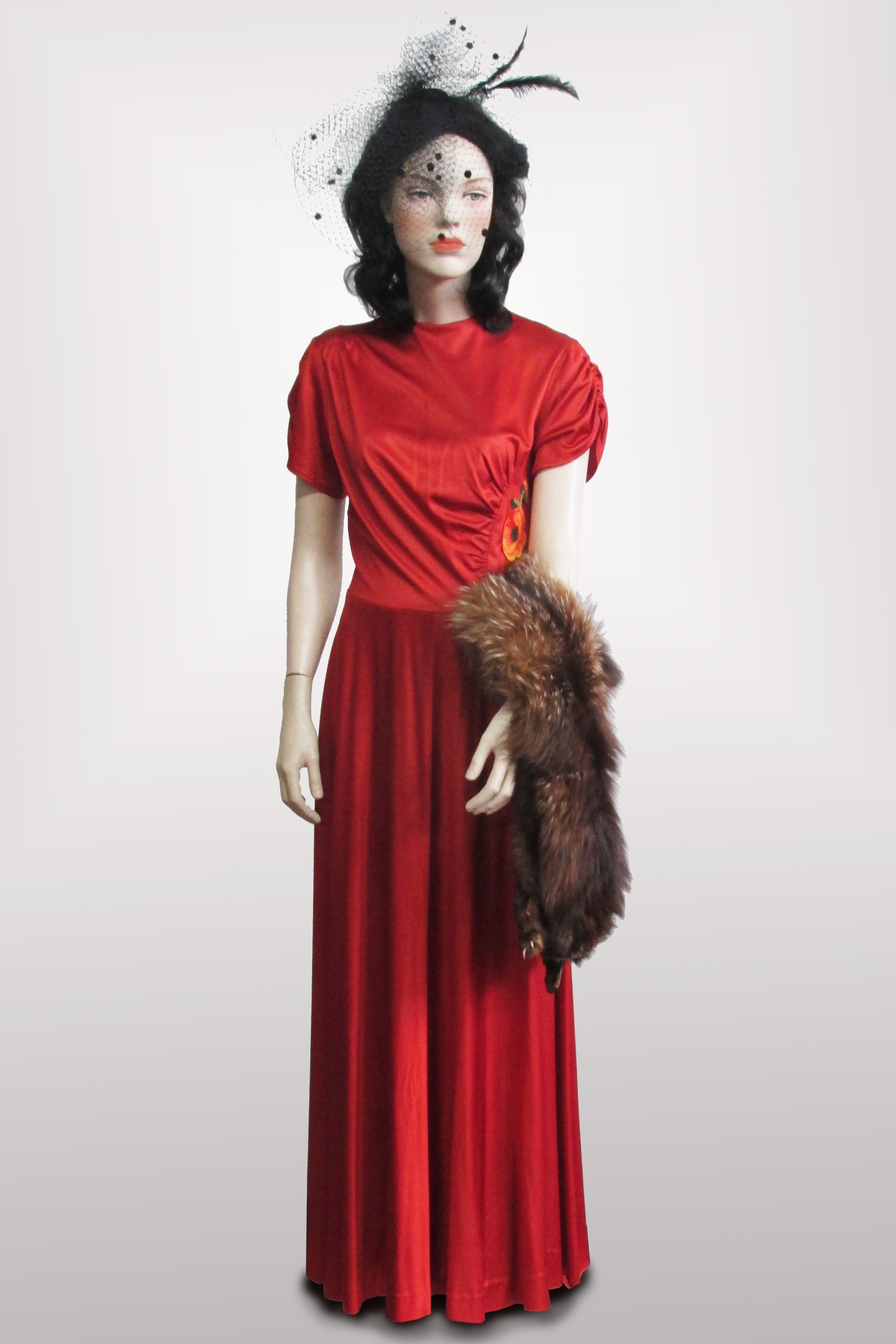 Evening Gown Rustic Red 1940s