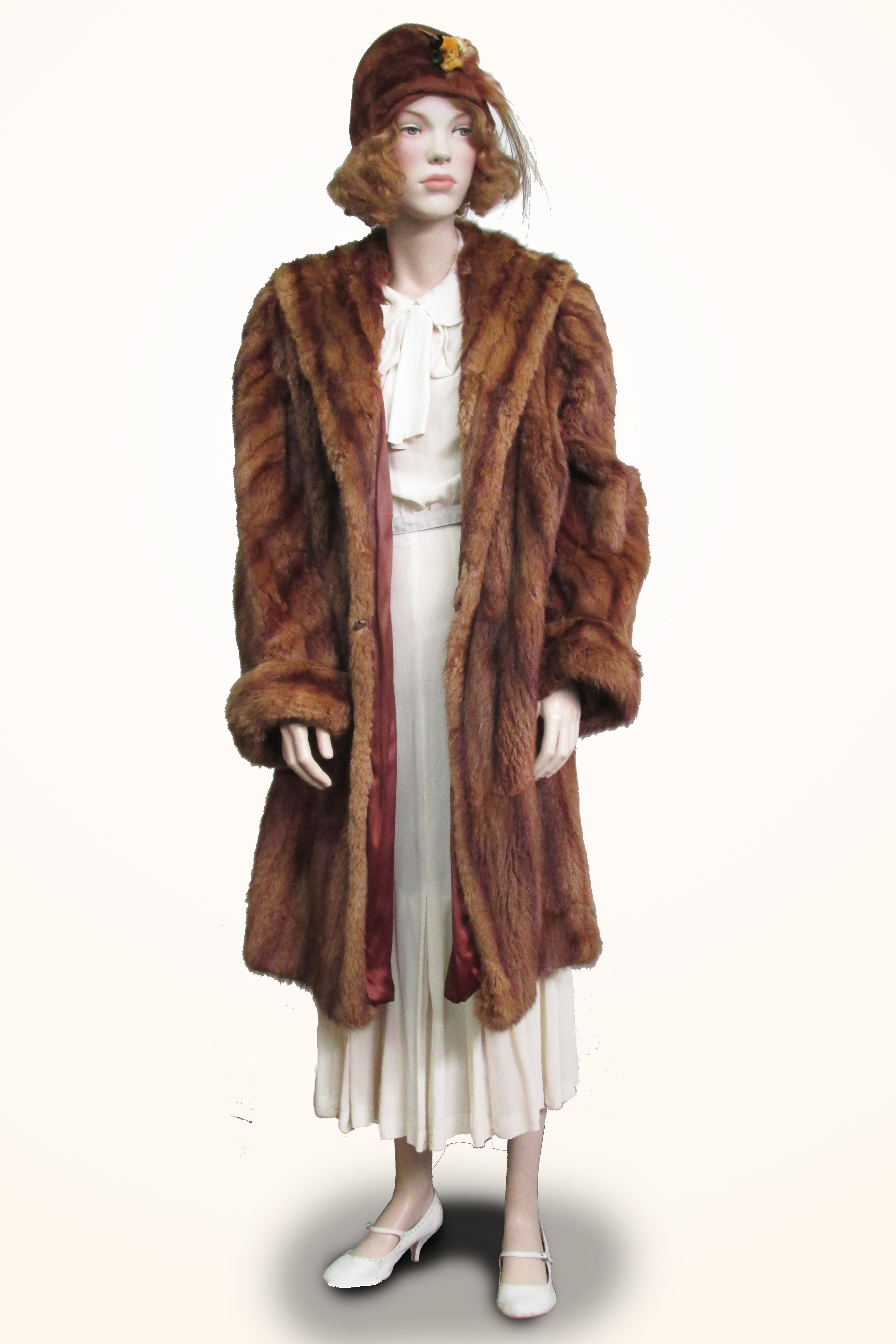Dress Cream Silk with Fur Coat and Hat
