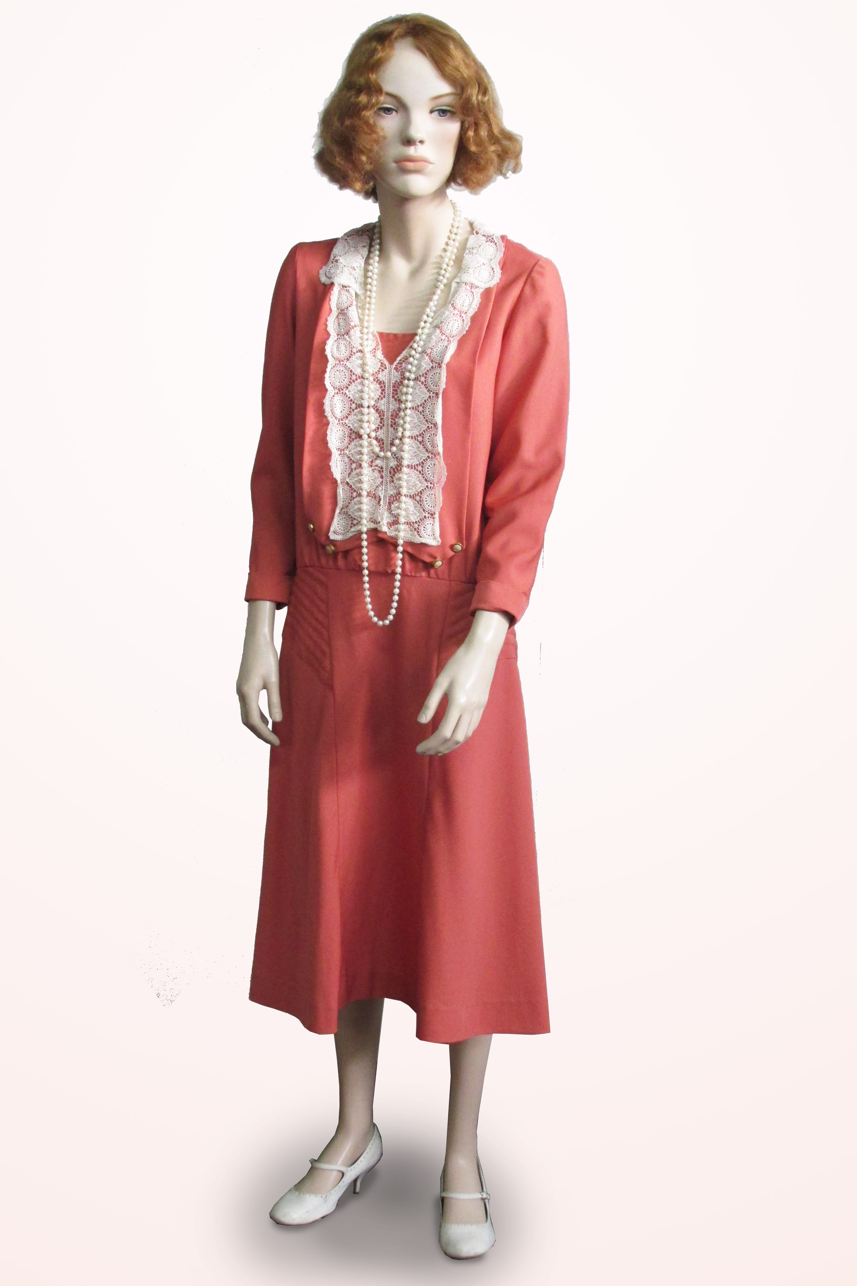 Dress Rustic Orange with Lace Front 1930s