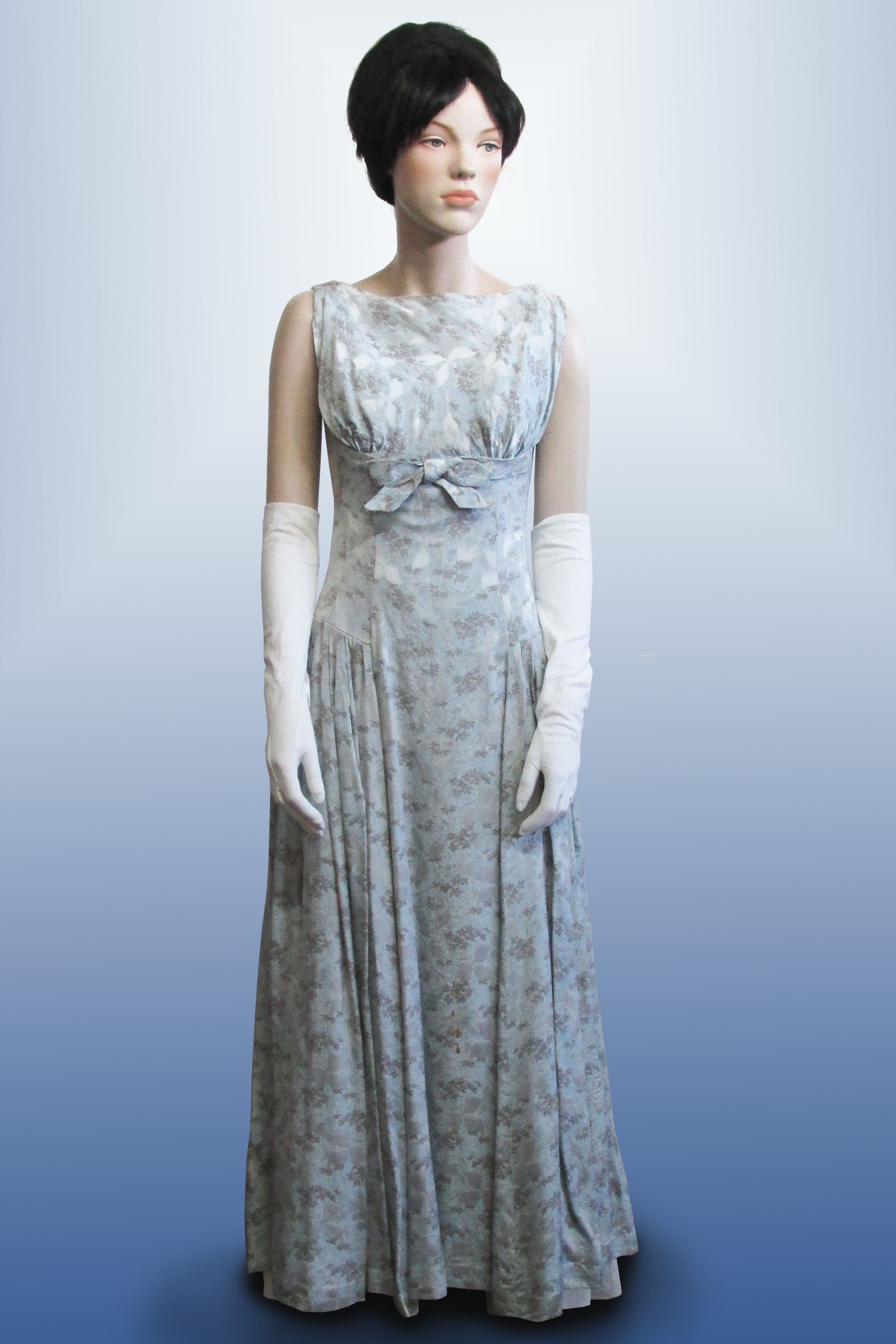 Evening Dress Pale Blue Brocade 1950s