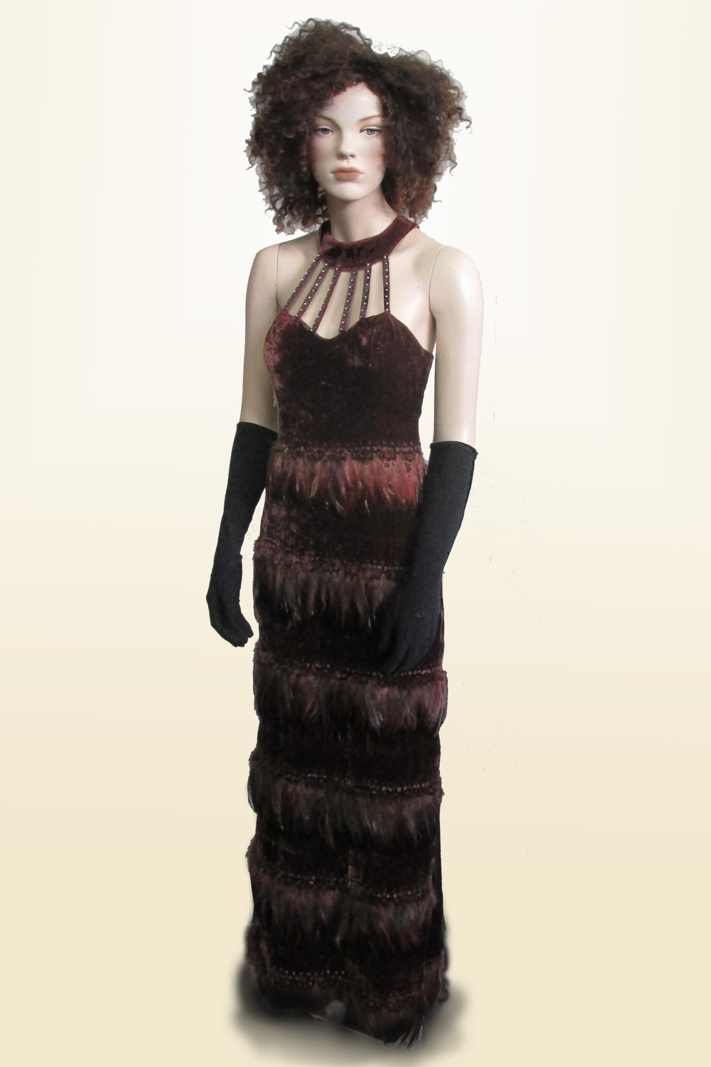 Evening Gown Brown Velvet with Feather Trim 1990s/2000s