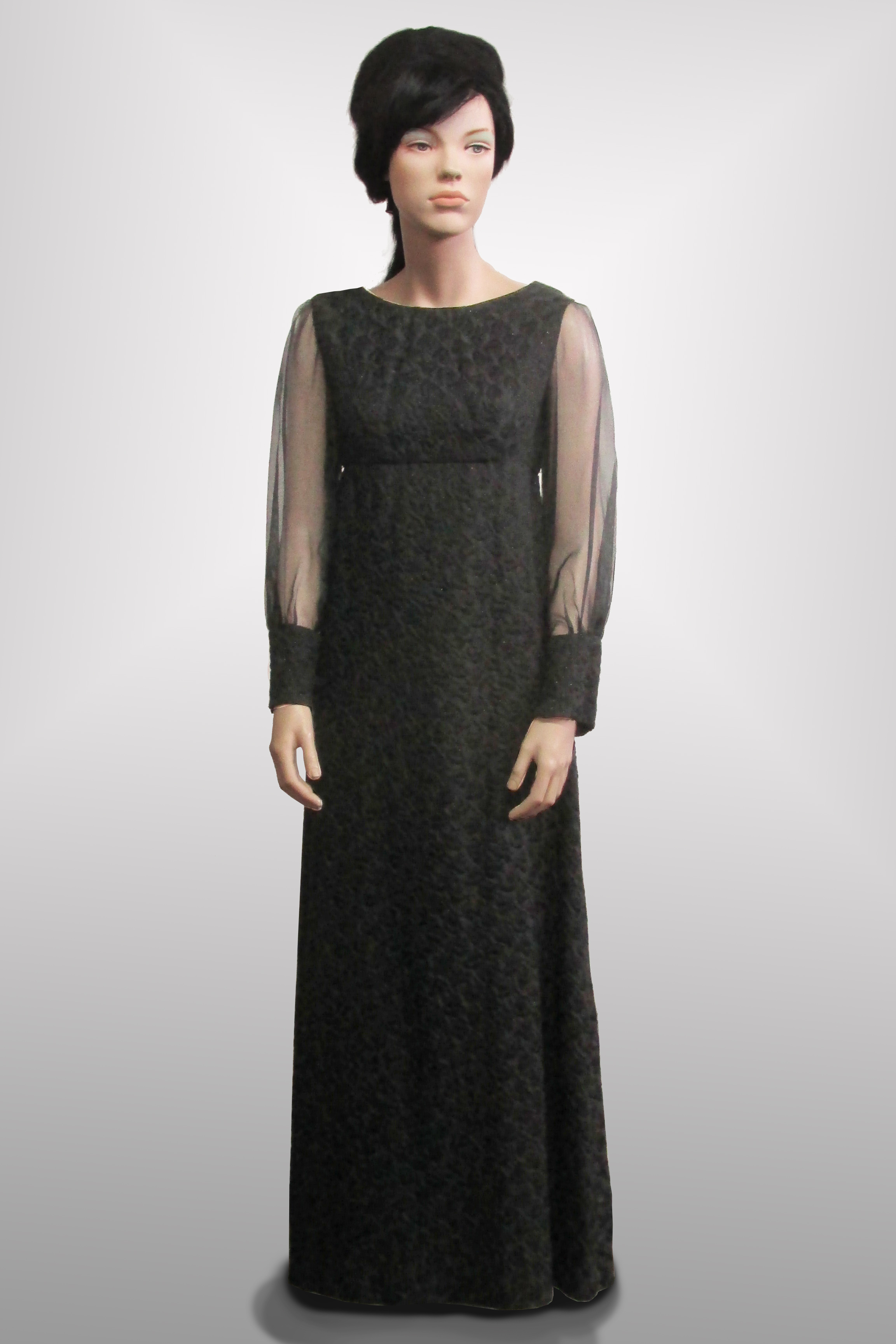Evening Gown Black with Sheer Sleeves 1960s