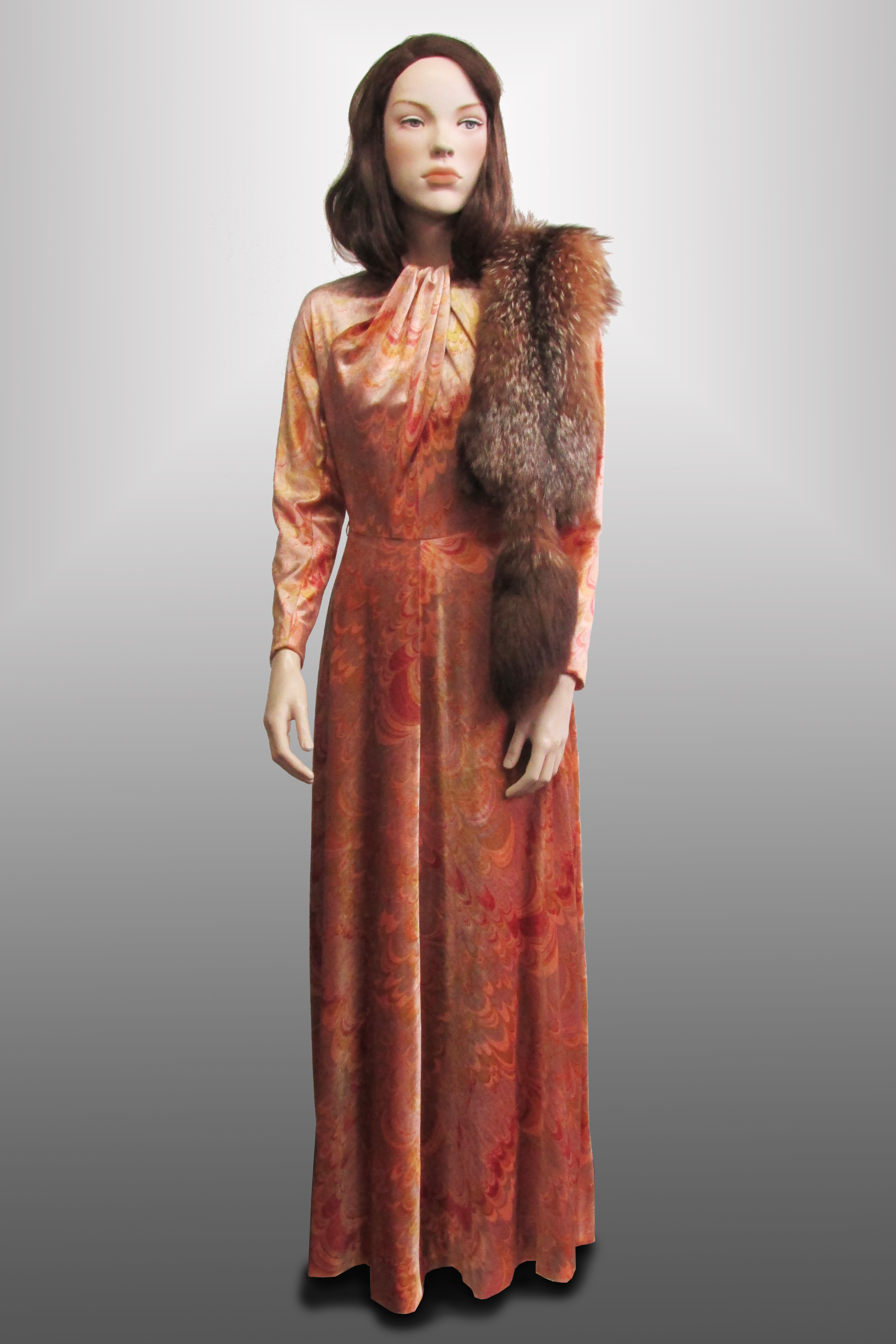 Evening Gown Pink/Peach Velvet with High Cross Neck 1940s