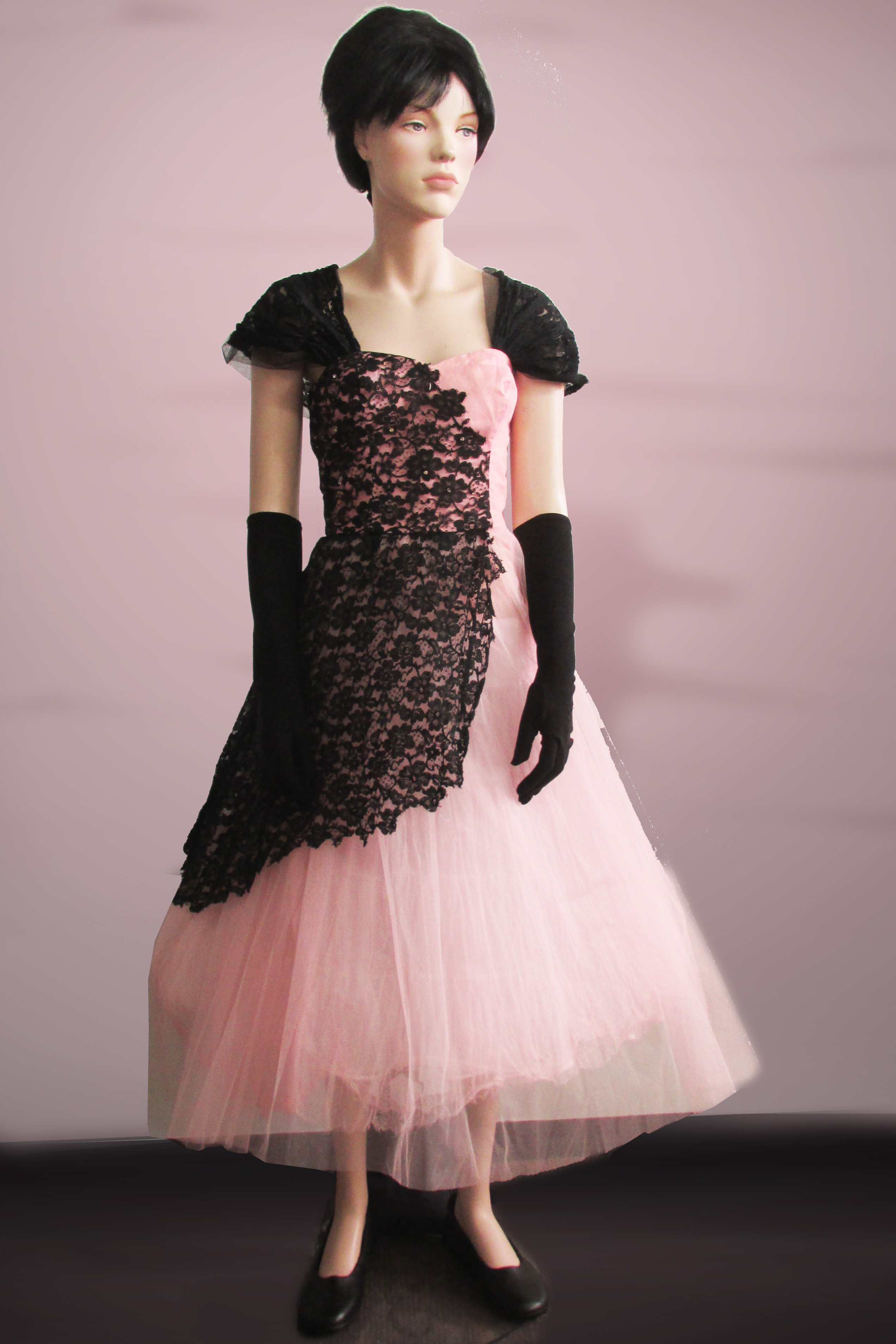 Pink Tulle with Black Lace 1950s