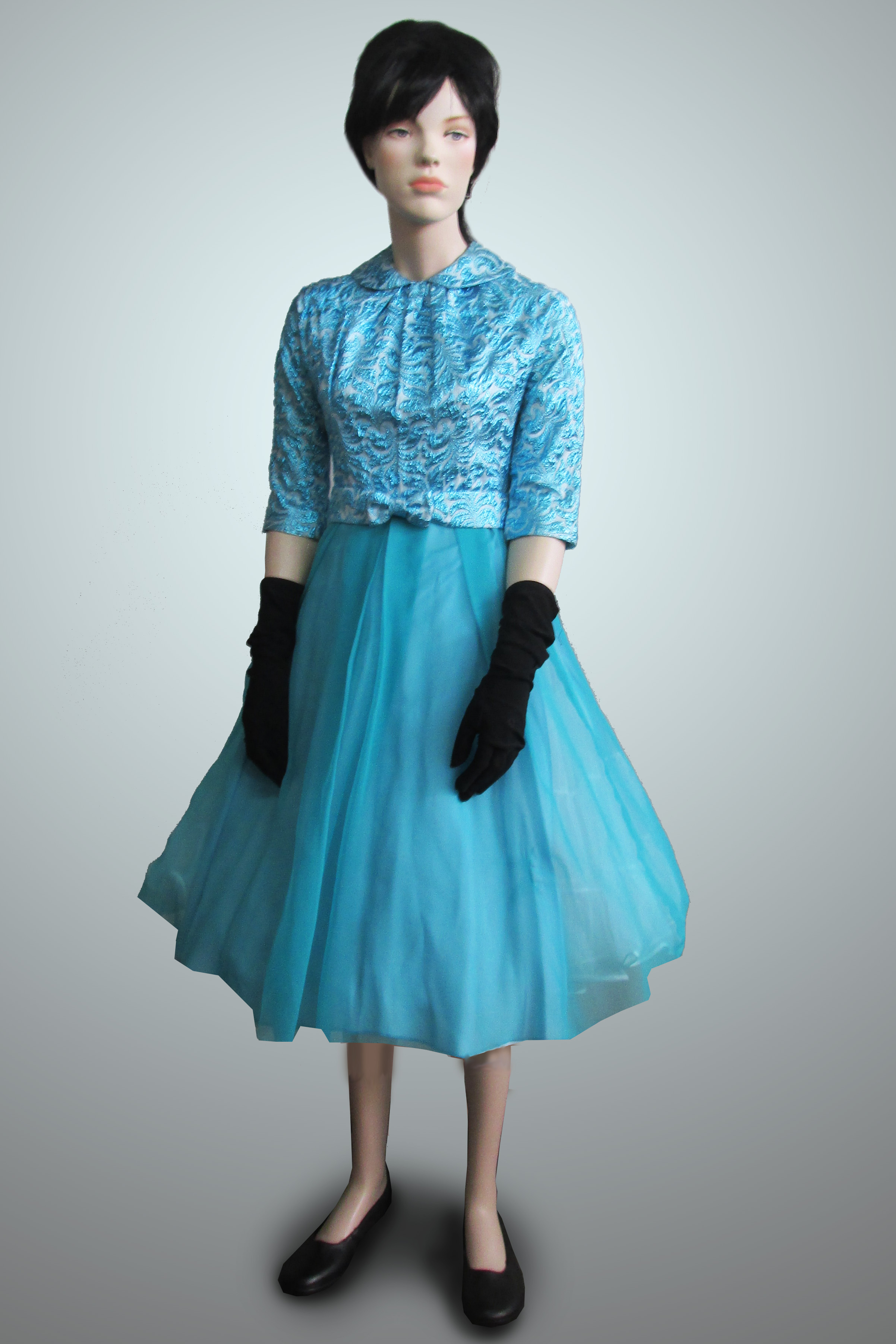 Party Dress Turquoise Metallic Bodice Tulle Skirt 1950s/60s