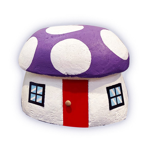 Toadstool House Purple Roof  (70 x 65cm)