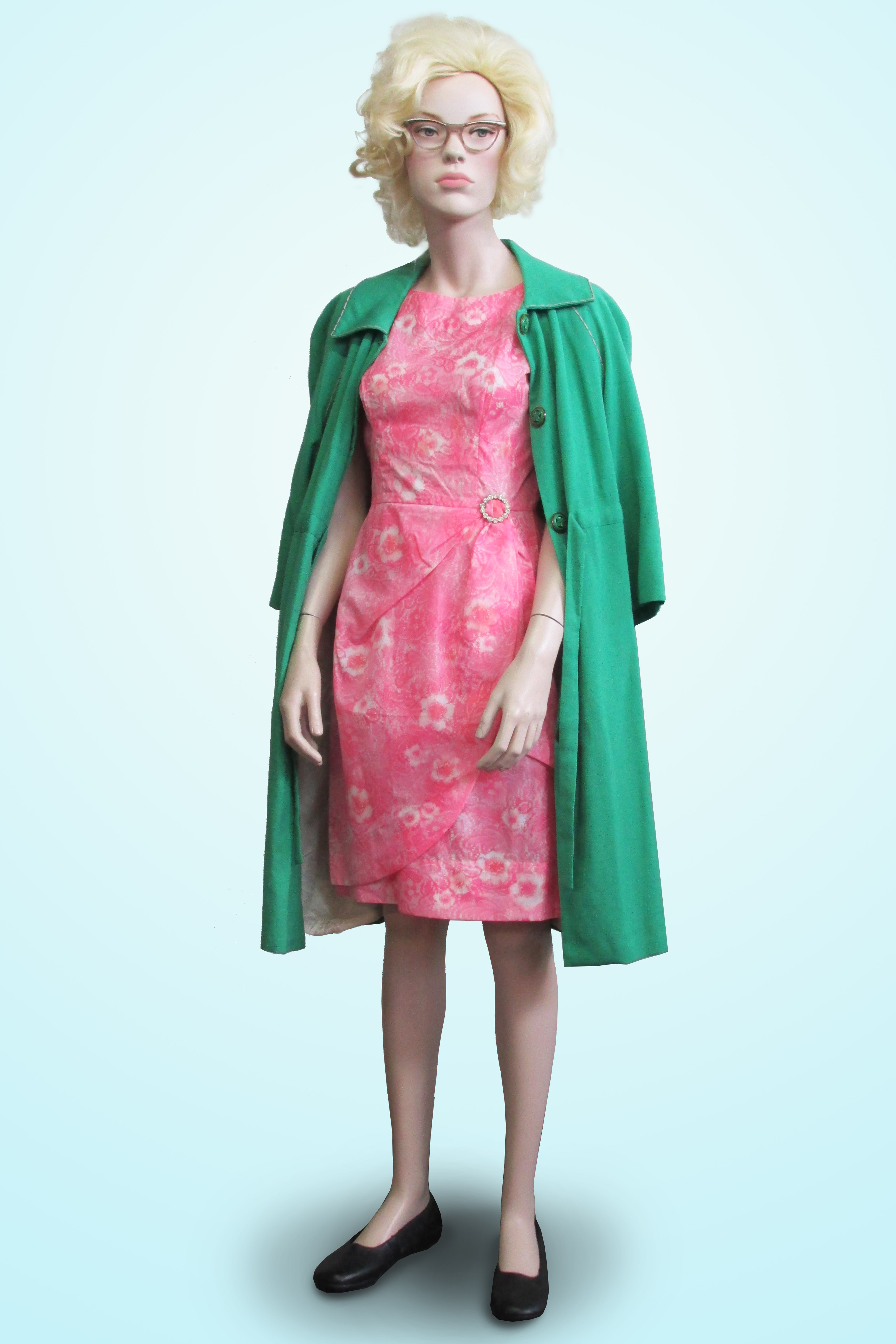 Dress Pink with Green Coat 1960s